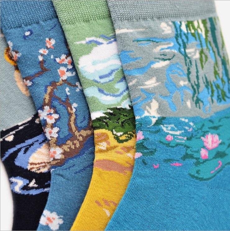 New 2018 Spring New Women Retro Art Abstract Oil Painting Lotus plum blossoms Series women Harajuku Design Funny Socks