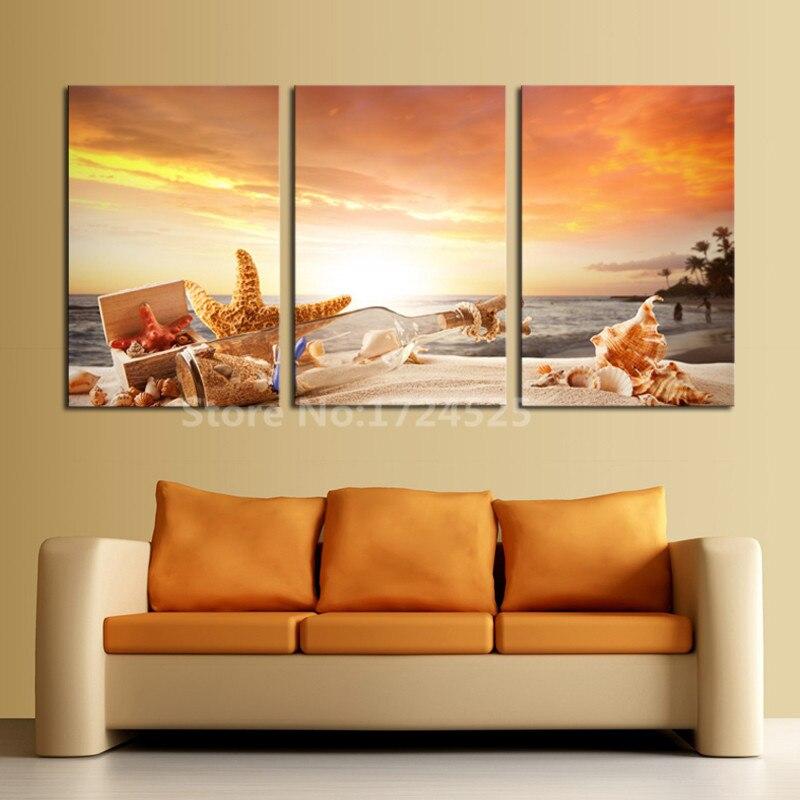 Aliexpress Com Buy 3 Piece Canvas Art Home Decoration: 2017 Real New Cuadros 3 Piece Shell Drift Bottle Sunrise