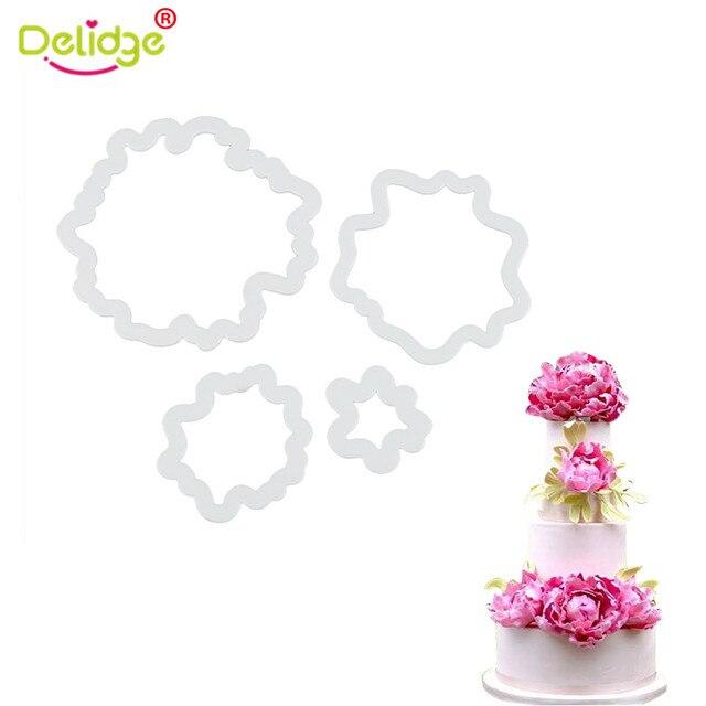 Delidge 4pcs Set Peony Fondant Cutters Cookie Cutters Flower Fondant