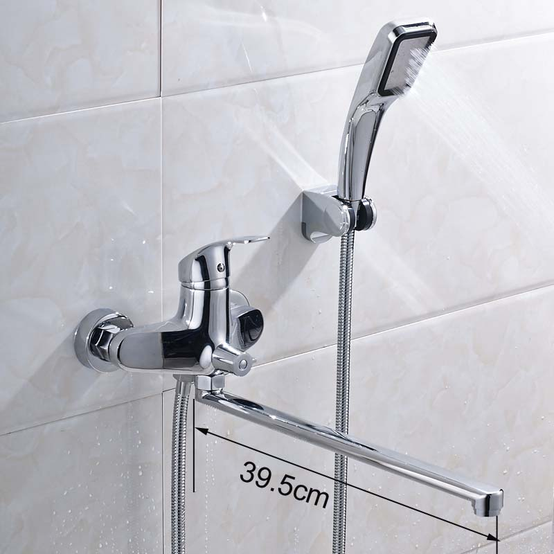 Chrome 395mm Length Outlet Tub Faucet Rotated Brass Bath Shower ...