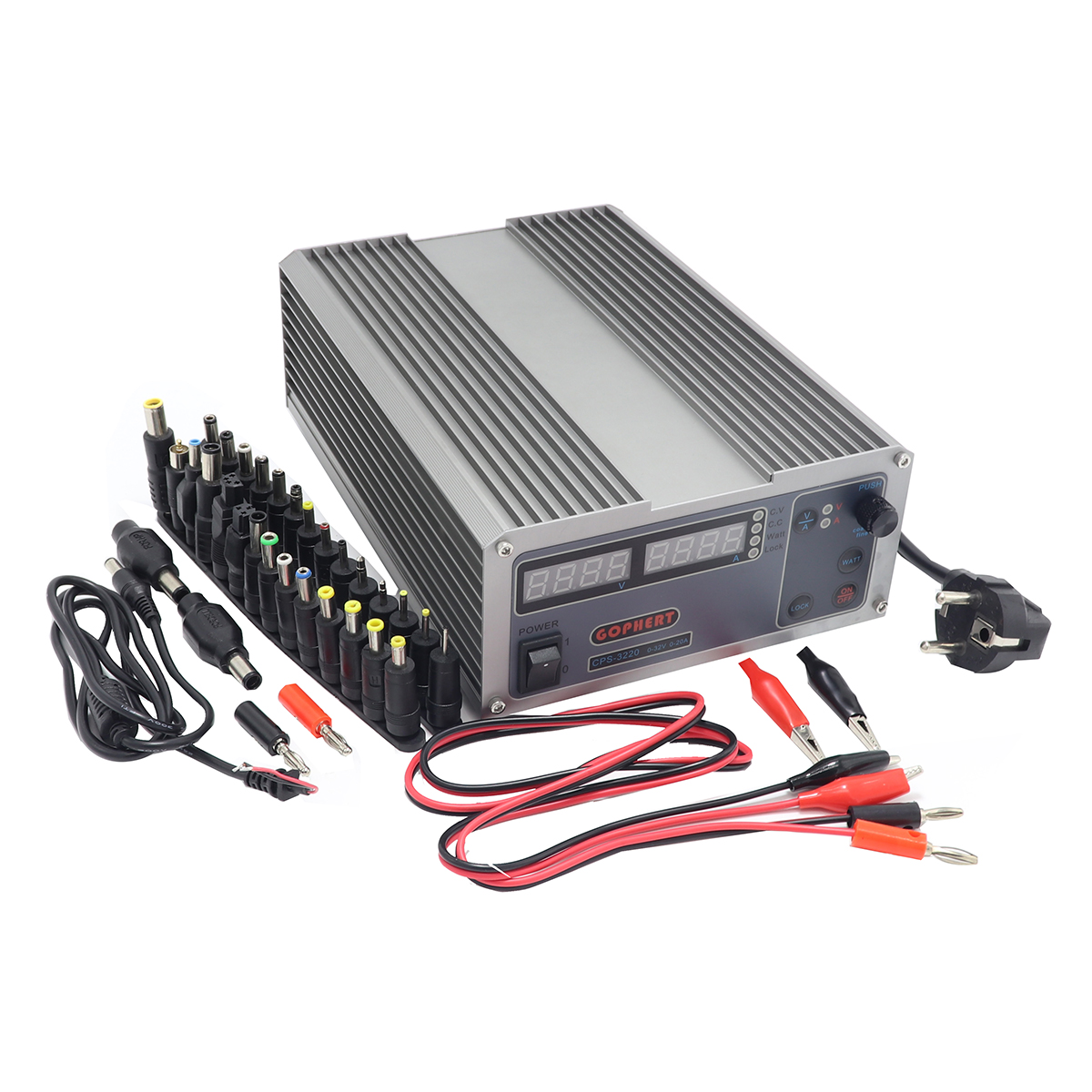 Mini cps 3220 DC Power Supply 37pcs head Banana clip wire EU UK US adapter OVP