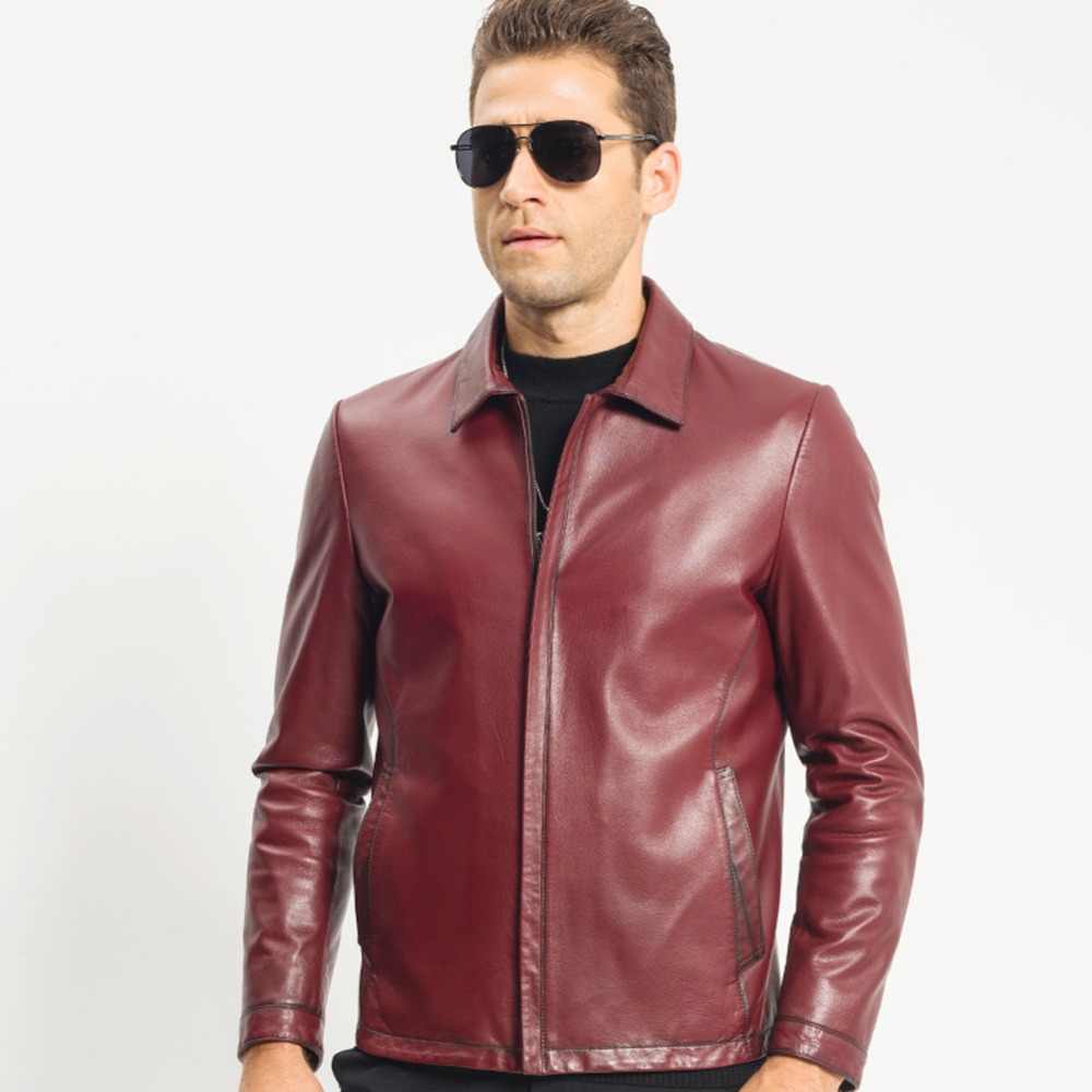 Men's Red Down Leather Jacket Short Lapel Collar Genuine Goat Skin Down Coat Men Smart Casual Outerwear TJ8120