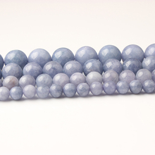 LIngXiang natural Jewelry blue Aquamarines stones loose beads DIY Men and women bracelet necklace Earings Accessories