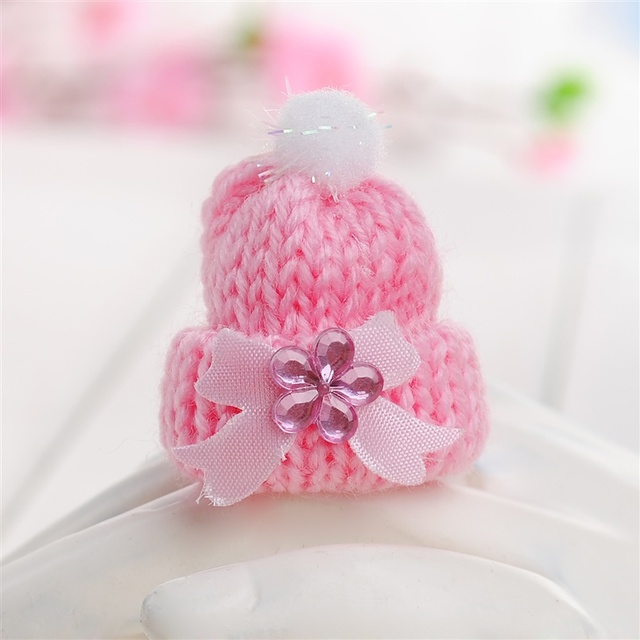 Miniature Vintage Knit Doll Head Supply Small Doll Winter Ski Hat Pink Or  Blue Baby Shower