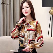 BUYSd women chiffon tops blouses ladies boho casual print full flare sleeve summer bohemian shirts
