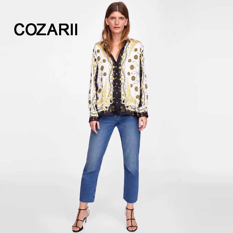 COZARII blusa feminina kimono blouse blusas mujer de mod print regular none 2018 shirt womens tops and blouses plus size
