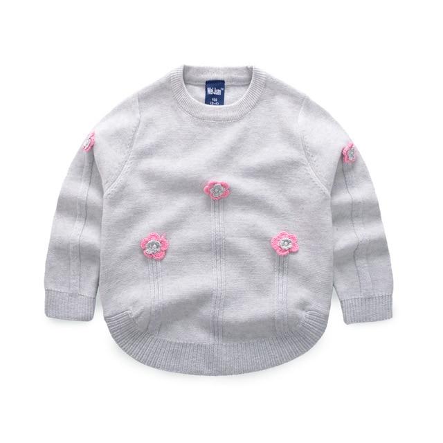 eb781db999e2 Girls Pullover Sweater Flower Design Crochet Sweater O Neck Cotton ...