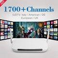 IUDTV Europa Cielo Árabe Canales de IPTV Caja Android 4.4 WiFi HDMI Caja de la TV inteligente 1700 Más Canales Árabe Francés Paquete HD Deportes