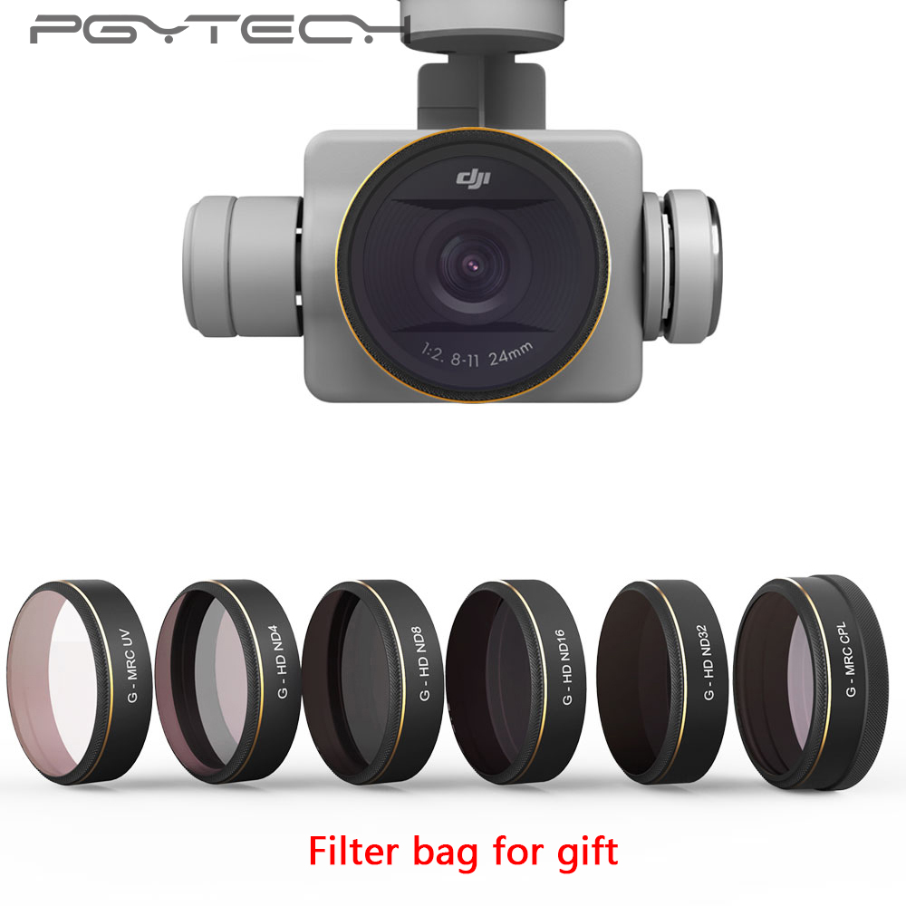 PGYTECH 6pcs/set UV/CPL/ND4/8/16/32 Camera Lens Filters Kit HD for DJI Phantom 4 PRO Drone Accessories Filter bag for gift самокат девочки