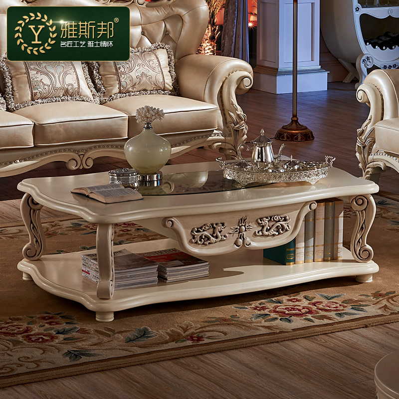 European style living room coffee table a few simple long ivory