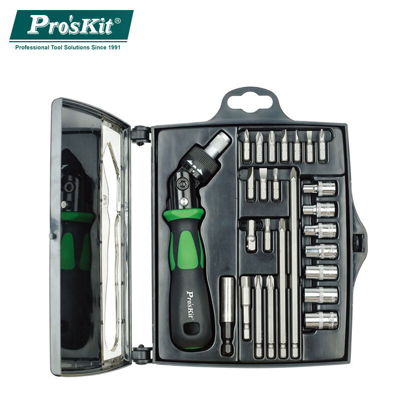 ProsKit Original SD-2314M 25 In 1 Reversible Ratchet Magnetic Screwdriver W/Bits & Sockets Set Screwdriver Set pro skit sd 2314m 25 in 1 reversible ratchet screwdriver with bits