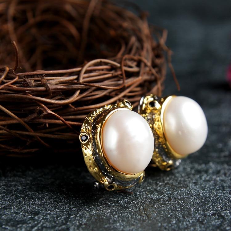 Le processus rétro baroque italien grande perle boucles d'oreilles boucles d'oreilles en gros à la main boucles d'oreilles bijoux usine