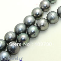 Jewelry 001091 11 13.2mm Metallic Gray Tahitian South Sea Round Pearl Strand Necklace 5.5