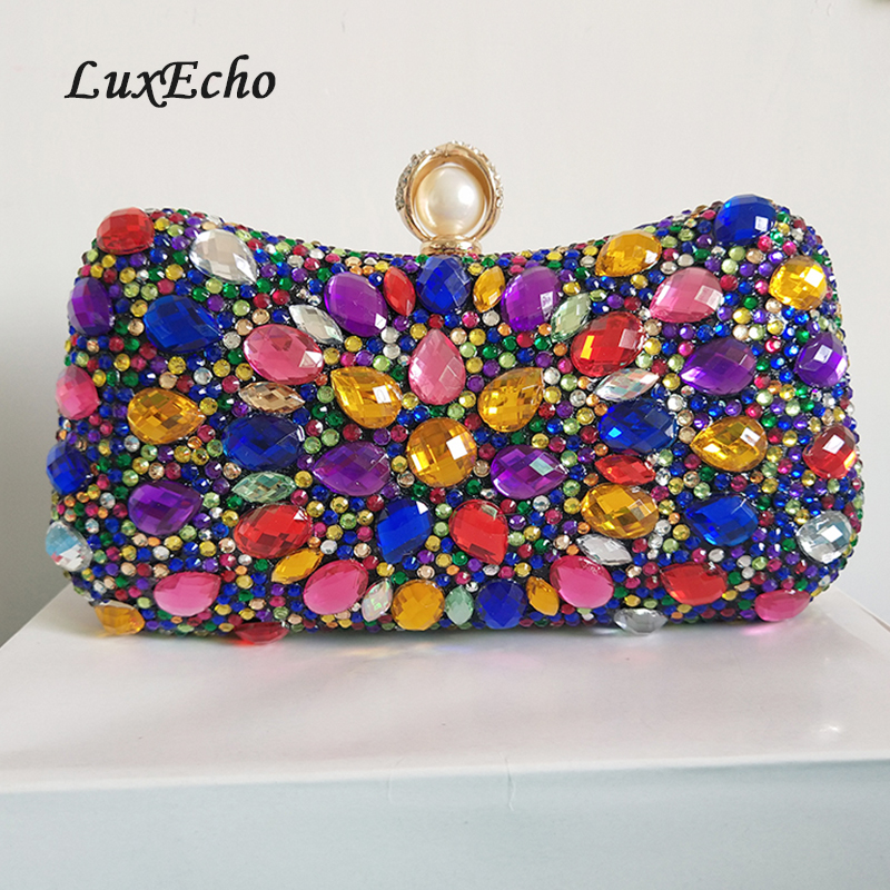 LuxEcho Multicolored crystal handbags Womens wedding purse Fashion party evening bags Day clutches ladies fashion bags