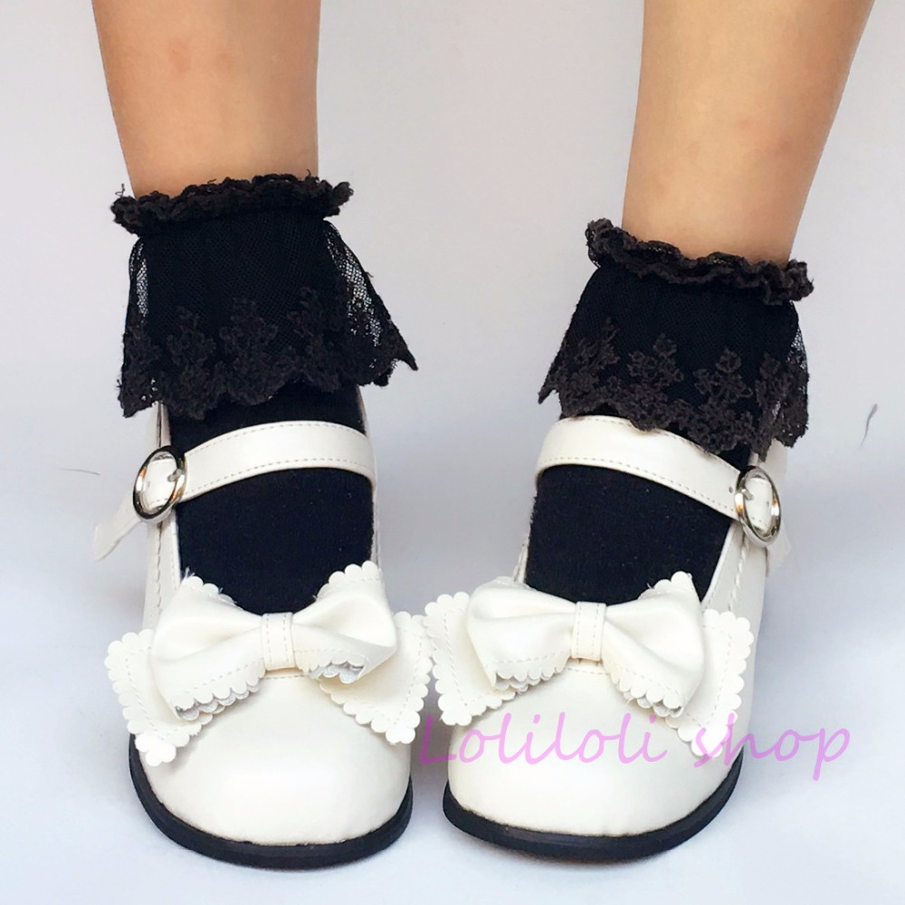 Princess sweet lolita shoes Japanese design customized special shaped shoes white bow tie Middle heel shoes 9986 цена