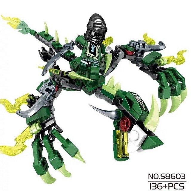 Como um presente ninja dragon knight blocos de construção iluminai brinquedo para crianças bricks DIY para amigos menino 115 pcs +