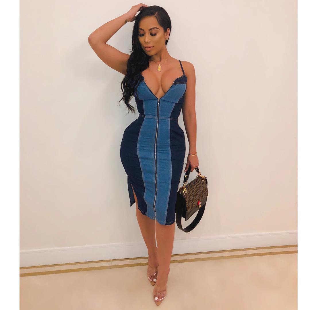 2019 femmes nouveau été spaghetti sangle zipper up sans manches denim patchwork genou longueur moulante robe mode jean robes YZ1064