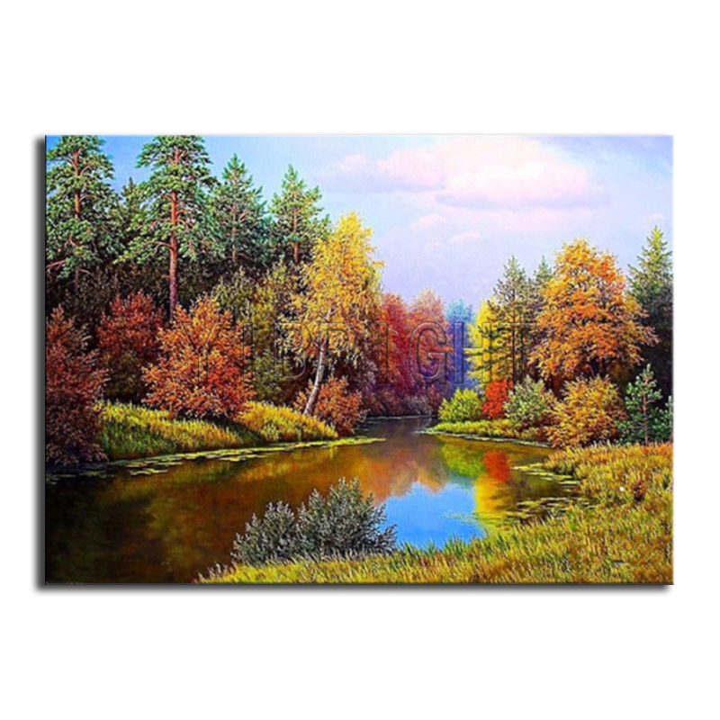 DIY 3D Diamond mosaic river Full Square Diamond embroidery Cross stitch tree Full Round  ...