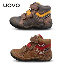 UOVO Casual Shoes for Boy children Kids Leather Mid-cud boots Warm Buckles Sneakers TPR Sport Shoes chaussures 18.7-23.3cm