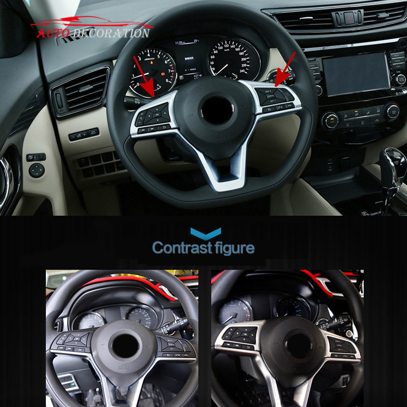For Nissan Kicks 2016 17 2018 Car styling High-Equipped Accessories Matte Steering Wheel Button Panel Cover Trim 2* 3pcs car steering wheel button switch panel cover trim decoration carbon fiber for honda civic 2016 2017 car styling accessories