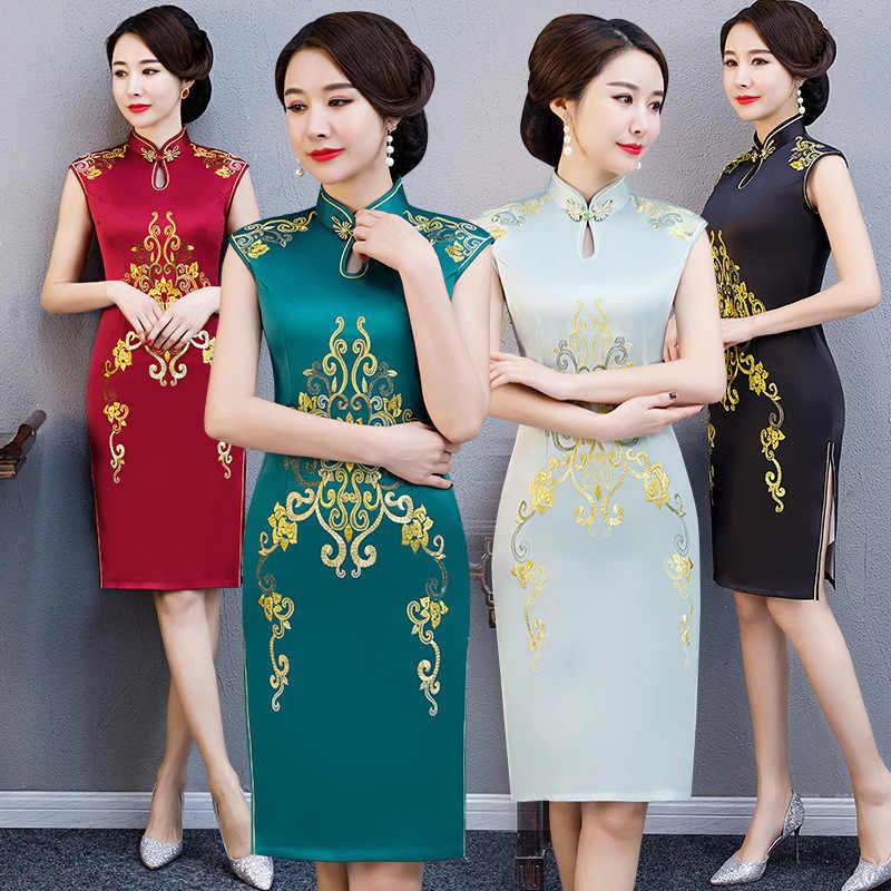 2019 New Summer Embroidery Cheongsam Elegant Women' s Handmade Button Dress Short Sleeve Knee Length Sexy Short Dress M-XXXXL