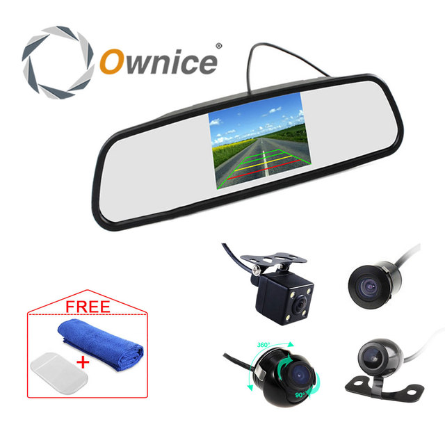 CCD HD 4.3 inch Car Rearview Mirror Monitor Video Auto Parking System with 4 LED Night Vision Reversing Camera Waterproof
