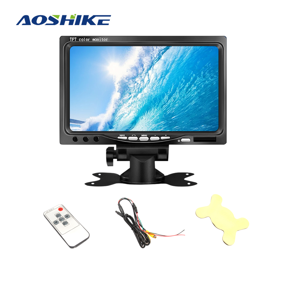 AOSHIKE 7 Inch 12V Car Monitor For Rear View Camera TFT LCD LED Display Universal With Vehicle Camera Parking 800*480 Sun Visor image