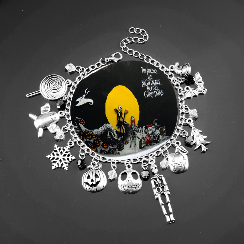 Us 1 8 20 Off Nightmare Before Christmasb Bracelet Halloween Jack Skellington Sally Snowflakes Skull Pumpkin Bangle Bracelet Christmas Gifts In