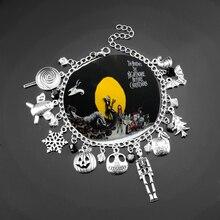 Nightmare Before Christmasb Bracelet Halloween Jack Skellington Sally Snowflakes Skull Pumpkin Bangle Bracelet Christmas Gifts недорого