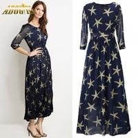 Women Plus Size 6XL 5XL Maxi Dress New Chiffon Stars Printed Chiffon Long Dresses Casual Half