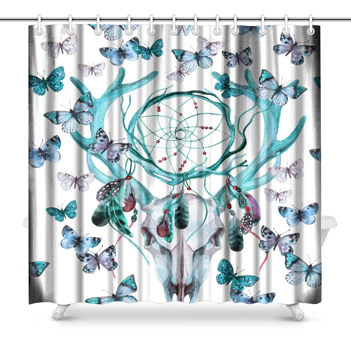 Deer Animal Skull with Dream Cather and Butterfly Polyester Fabric Bathroom Shower Curtain 72 x 72 Inches Long