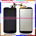 """Black 5.0"""" For Philips Xenium W8555 CTW8555 Full LCD Screen Display With Touch Screen Digitizer Complete Assembly Tracking Code"""