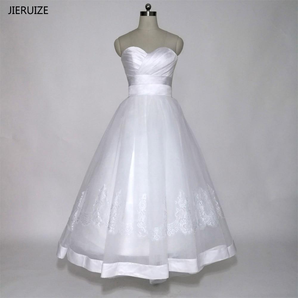 JIERUIZE White Simple Tea Length Wedding Dresses Lace Up Back Sweetheart Short Wedding Dress Vestido De Casamento Robe De Mariee