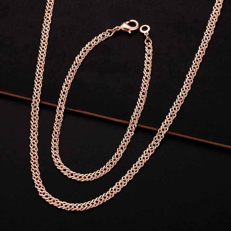 1 Set 4mm Smart Breite Mens Frauen Armband Halskette Set 585 Rose Gold Farbe Ketten Set Schmuck Unterscheidungskraft FüR Seine Traditionellen Eigenschaften