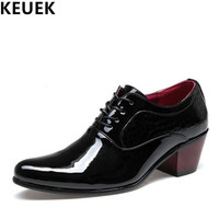Spring Autumn Fashion Men Leather Shoes Pointed Toe Lace Up Dress Shoes British Style High Heel