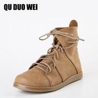 QUDUOWEI Ayakkabı Kadın Martin Çizmeler Hakiki Deri Ayak Bileği Ayakkabı Bağbozumu Rahat Ayakkabılar Marka Tasarım Retro El Yapımı Kadınlar Çizmeler Bayan