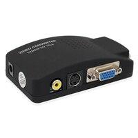 Оптовая продажа ПК ноутбук композитный видео ТВ RCA Композитный S-Video AV в ПК VGA lcd Out конвертер адаптер переключатель черный
