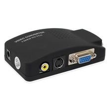 Оптовая продажа PC ноутбук композитный видео ТВ RCA Композитный S-Video AV в ПК VGA lcd Out конвертер адаптер переключатель черный