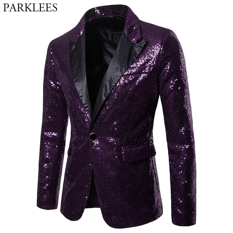 Purple Sequin Blazer Jacket Men 2018 Brand New One Button Patchwork Suit Blazer Mens Nightclub Party Wedding Stage Blazer Homme