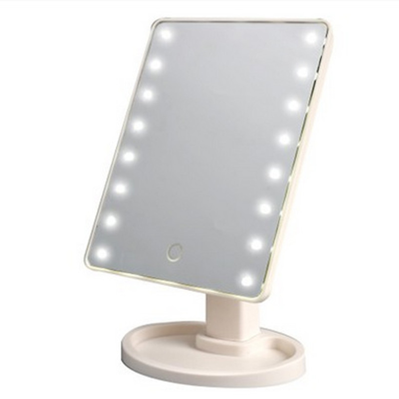 360 Degrees Rotation Makeup Mirror Adjustable 16/22 Leds Lighted LED Touch Screen Portable Luminous Cosmetic Mirrors