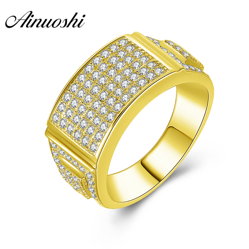 AINUOSHI 14K Solid Yellow Gold Men Ring Shinning Rows Drill Cluster Ring Wedding Engagement Gold Jewelry Wide Wedding Male BandAINUOSHI 14K Solid Yellow Gold Men Ring Shinning Rows Drill Cluster Ring Wedding Engagement Gold Jewelry Wide Wedding Male Band