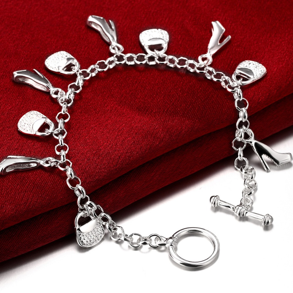 Wholesale Fashion 925 Silver Jewelry High Heels Bag Chain Bracelets For Women Trendy Jewelry Pulseras Mujer Bijoux