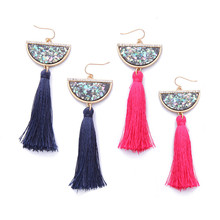 ORP 2017 Lady high quality Ethnic tassel dangle earrings European and American fashion Hot Sale color bohemia stud earrings high accuracy orp