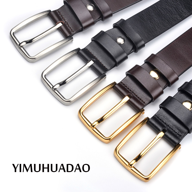 YIWUHUADAO Mens Genuine leather belt jeans for men male belts high quality strap black coffee pin buckle waist fashion brand