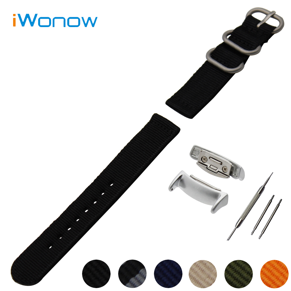 Nylon Watch Band 18mm for Samsung Gear Fit 2 SM-R360 Stainless Steel Pin Buckle Strap Wrist Belt Bracelet + Spring Bar + Adapter luxury silicone watch replacement band strap for samsung gear fit 2 sm r360 wristband 100