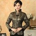Envío gratis gris señora de la seda china tradicional juego de la espiga con cuello en V flor nacional del traje tamaño S a XXXL T030