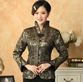 Free Shipping Gray Chinese Lady Silk Coat Traditional Tang Suit V -Neck Flower Jacket National Costume Size S To XXXL T030