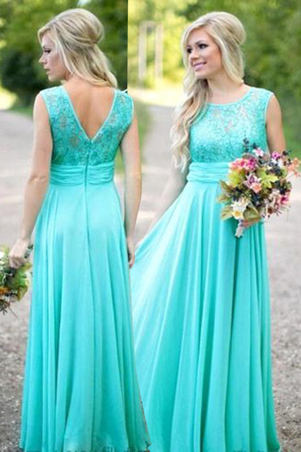 99e28d3eac 2017 New Aqua Bridesmaid Dresses Long with Lace V Back Wedding Guest Dresses  Weddibng Party Gown