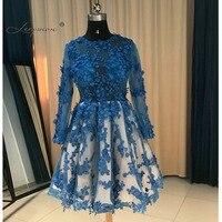 Королевский синий одежда с длинным рукавом Короткое коктейльное платье 2017 по колено Sheer коктейльное платье партии Vestidos curtos de Renda Para Festa K04