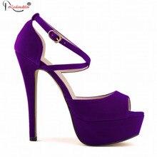 2017 пикантные фиолетовые темперамент обувь женские флоковые кожаные босоножки на высоком каблуке для девочек открытый носок платформы Летние босоножки Обувь SMYBK-034